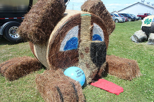 Decorated Hay Bales At The Northern Maine Fair
