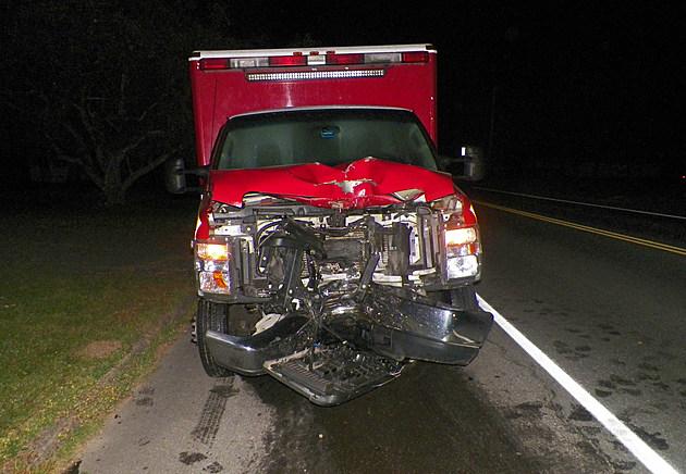 Caribou Ambulannce strikes utility pole in Monticello