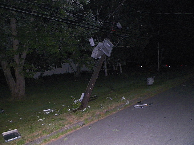 Ambulance strikes power pole on Route 1