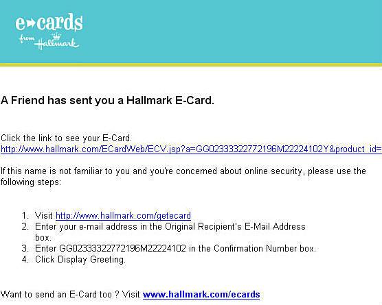 Warning phoney hallmark e card scams hallmark m4hsunfo
